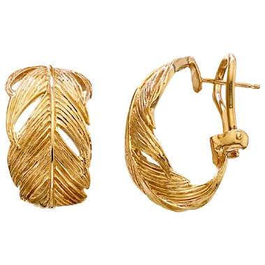 Earrings feather gold